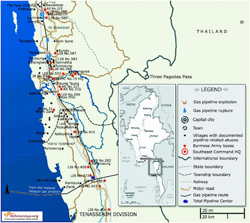 locations of villagers that report human rights violations along Kanbauk to Myaing Kalay gas pipeline