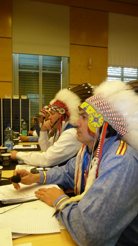 Chief Perry Bellegarde (r) and Chief Cameron Alexis contemplate Canada's presentation to the UN CERD in Geneva, Switzerland. - February 22, 2012