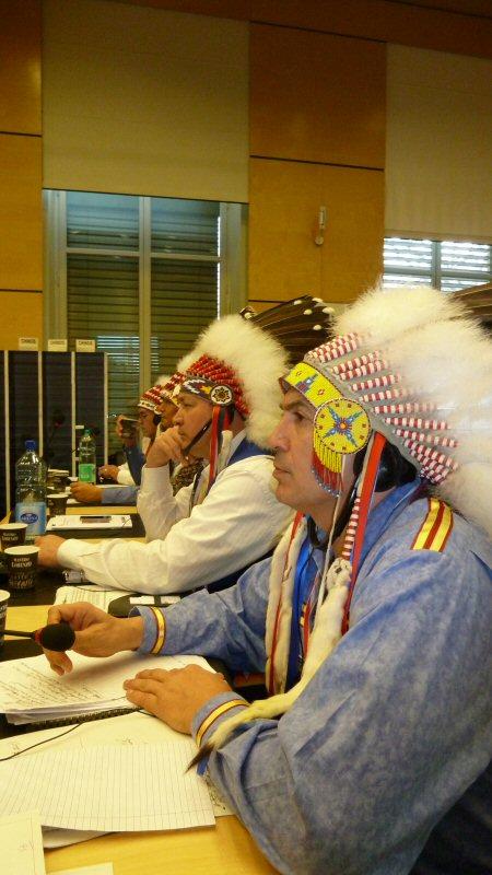 Chief Perry Bellegarde (r) and Chief Cameron Alexis contemplate Canada's presentation to the UN CERD in Geneva, Switzerland. - February 22, 2012