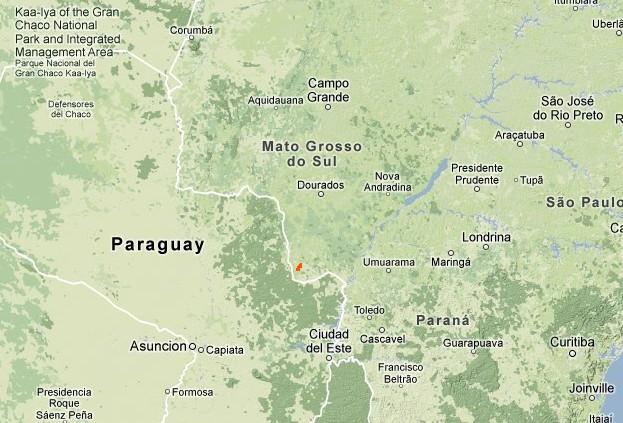Location of the Guarani community's territory in Mato Grosso do Sul, Brazil