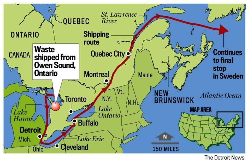 """Detroit News graphic of planned shipment route from Bruce nuclear power plant, Canada to Studsvik, Sweden radioactive waste """"recycling"""" center."""