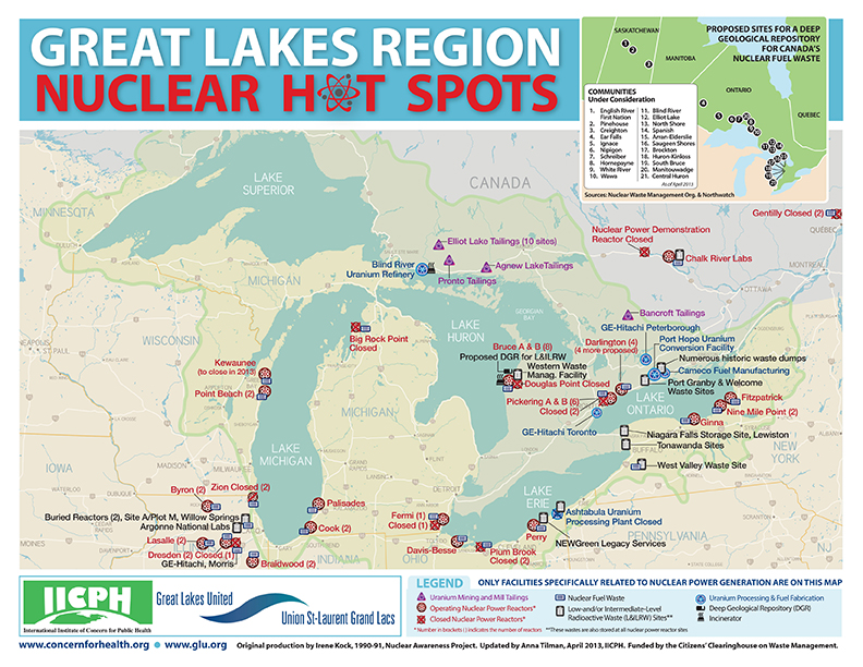 Great Lakes Nuclear Hot Spots Map (Credit: Great Lakes United and the International Institute of Concern for Public Health)