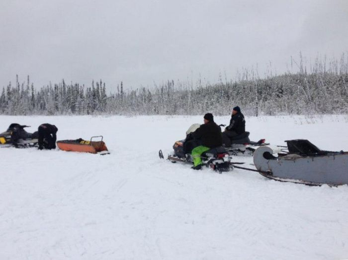 In April 2013, a group of Buffalo River Dene Nation members traveled into the Cold Lake Air Weapons Range, hauling materials to build cabins. Plans for more trips and activities inside the air weapons range are underway (Photo credit: BRDN—Keepers of the Land)