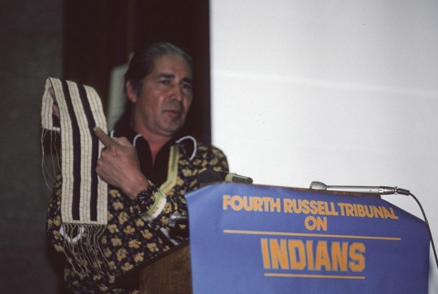 Oren Lyons explains the Two Row agreement at the Russell Tribunal at the Hague in 1980.