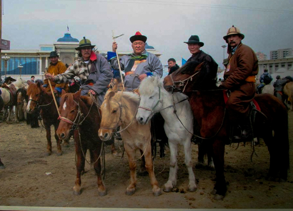 The 100 horse-riding protest of April 2011 was organized by D. Tumurbaatar (first on left, front), Ts. Munkhbayar, S. Dashtseren and other dedicated environmentalists and civil society leaders.
