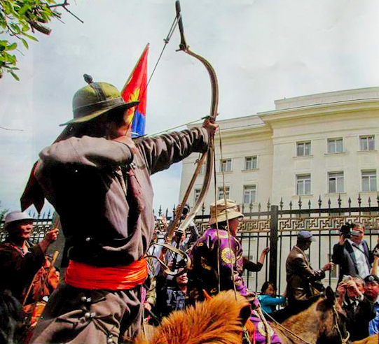 D. Tumurbaatar, also sentenced to 21 years 6 months, shoots an arrow at Parliament after the April 2011 protest where 100 horse-riding herders demonstrated in Sukhbaatar Square (in front of Government House).  Demonstrators requesting enforcement of the LLN set up eight gers on the square, called for a national referendum and collected signatures.  When the President, Prime Minister and Parliament Speaker ignored their request to meet, Mr. Tumurbaatar conveyed his message by shooting an arrow.