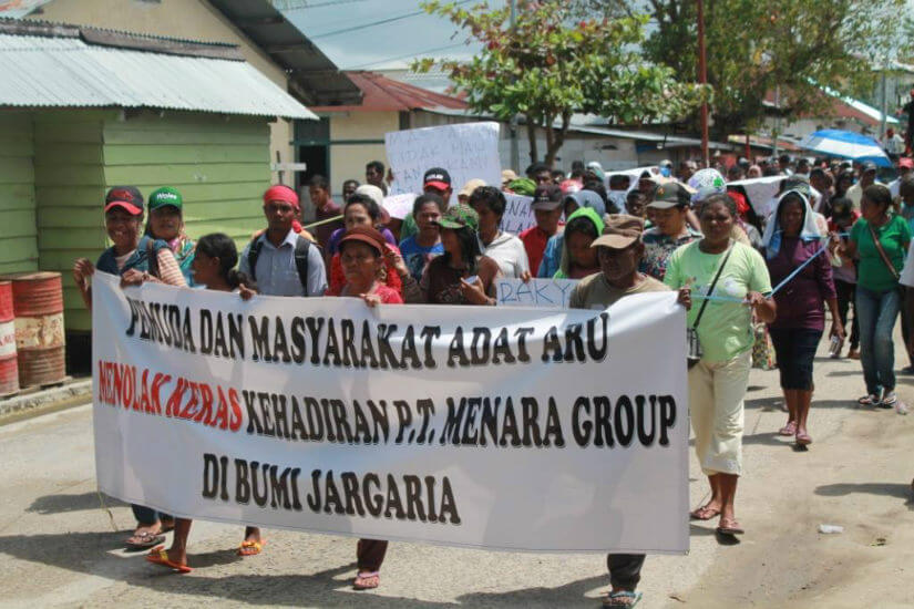A demonstration against the Menara Group in Dobo, the largest town in Aru