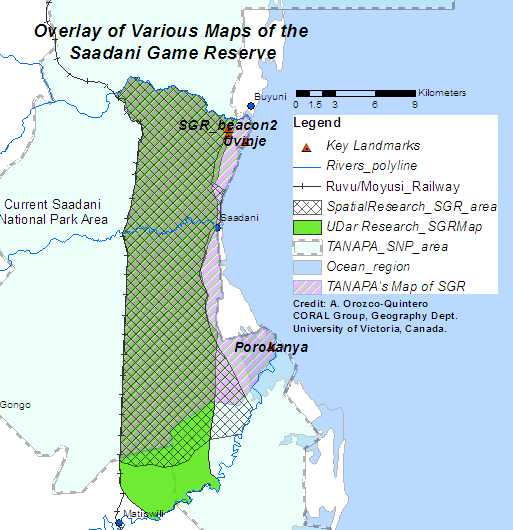 Figure 4. Overlay of all maps of the SGR, TANAPA's version of the eastern (coastal) boundary of SGR map sharply contrasts with the 1996 UofDar and the 2013 UofVictoria maps of the SGR. Figure 2. Map of the SGR based on the official 1974 reserve gazette and 2 boundary beacons demarcating the original reserve boundary. 2013 Research, University of Victoria.