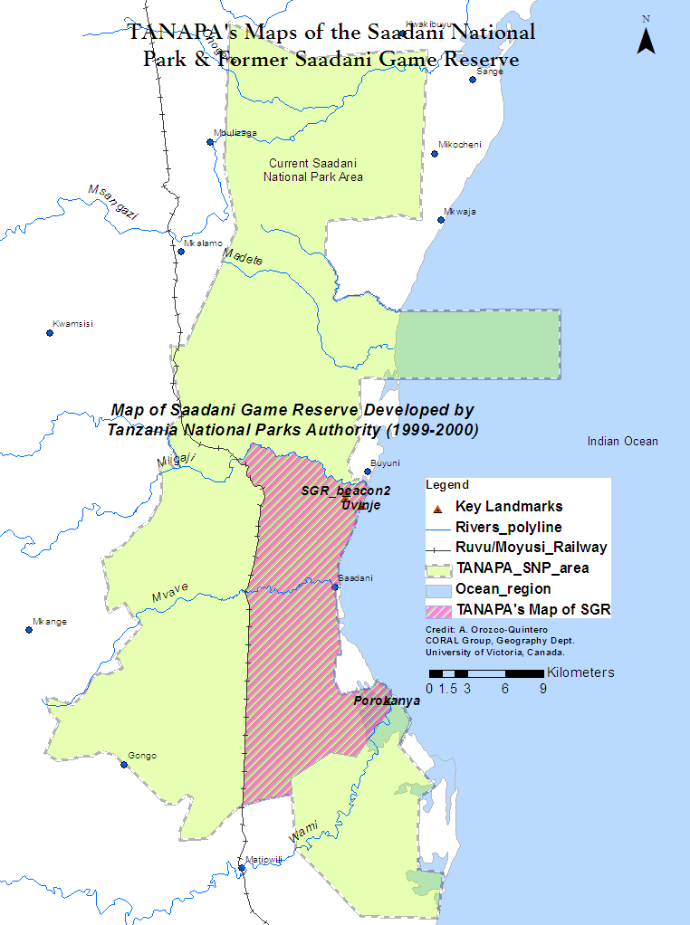 Figure 1. Maps of the Saadani National Park and Saadani Game Reserve created by Tanzania National Parks Authority.