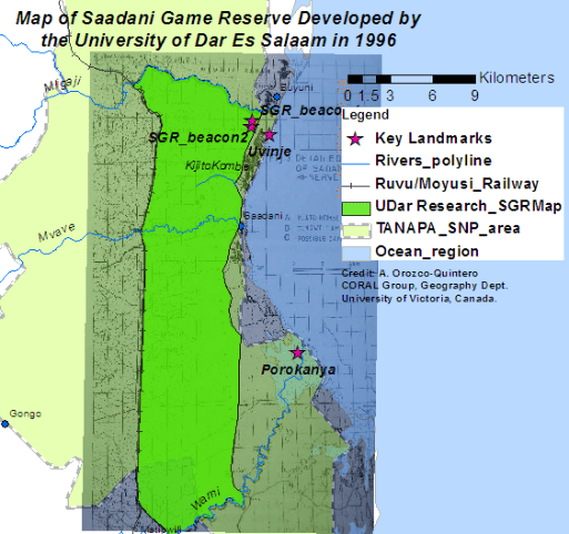 Figure 3. Map of the SGR from research commissioned by the Wildlife Department to the University of Dar Es Salaam researchers in 1995, 4 years before TANAPA's map of the reserve was created.