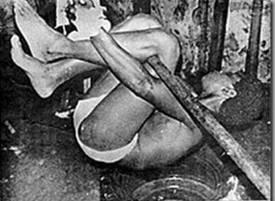Pau de Arara device developed during the Brazilian military dictatorship. It can also refer to a physical torture technique designed to cause severe joint and muscle pain, as well as headaches and psychological trauma. (Photo: Indigenous Truth and Justice Commission of Brazil)
