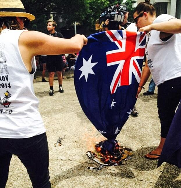 Australia flag burning