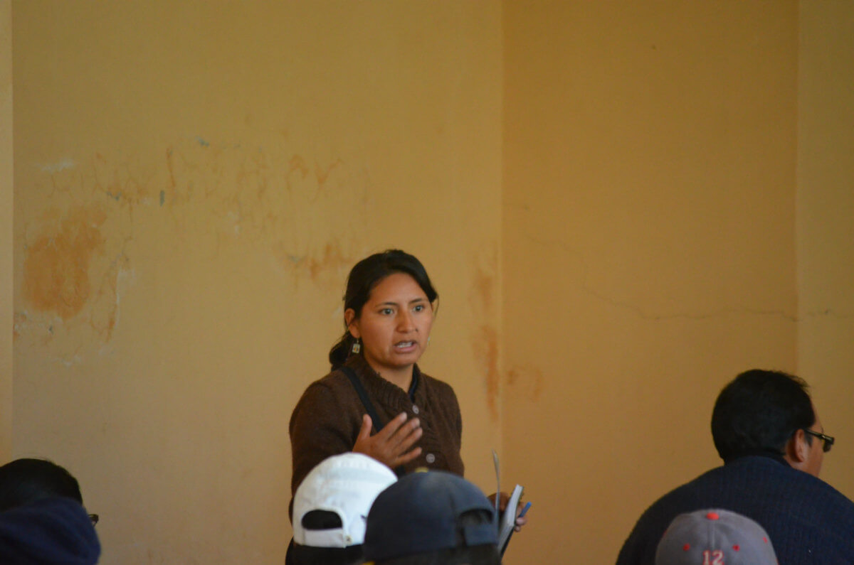 Tania Pariona Tarqui, Indigenous activist at the meeting in Paras (Photo: Robin Llewellyn)