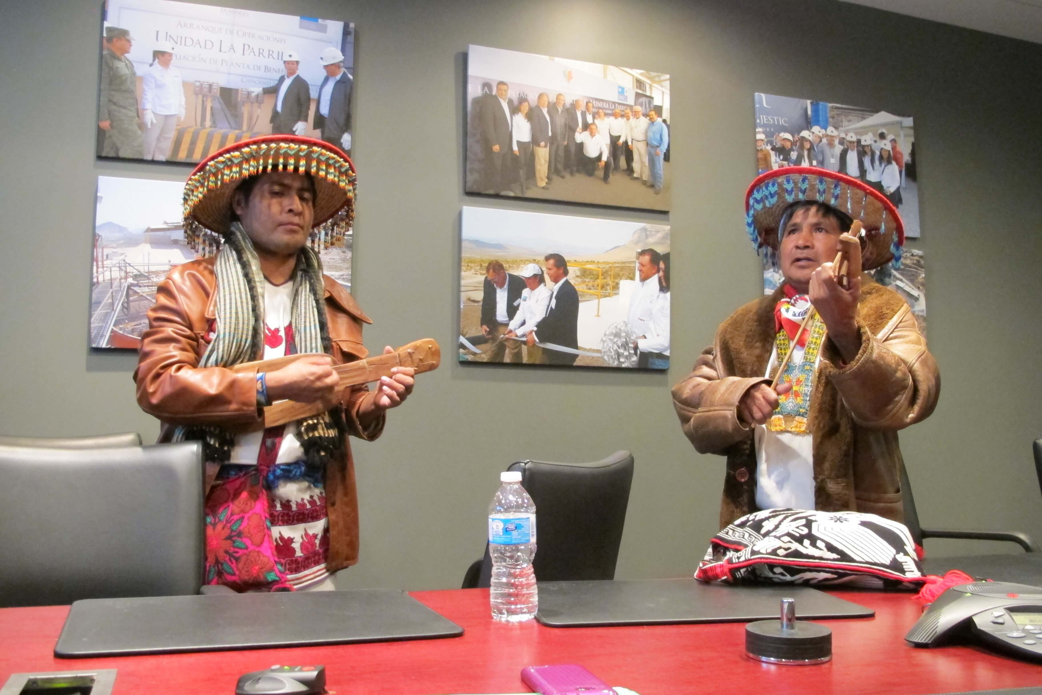 Enrique Ramirez, left, and Jose Luis Ramirez deliver a musical message to the management of First Majestic Silver Corp. at their headquarters in Vancouver.