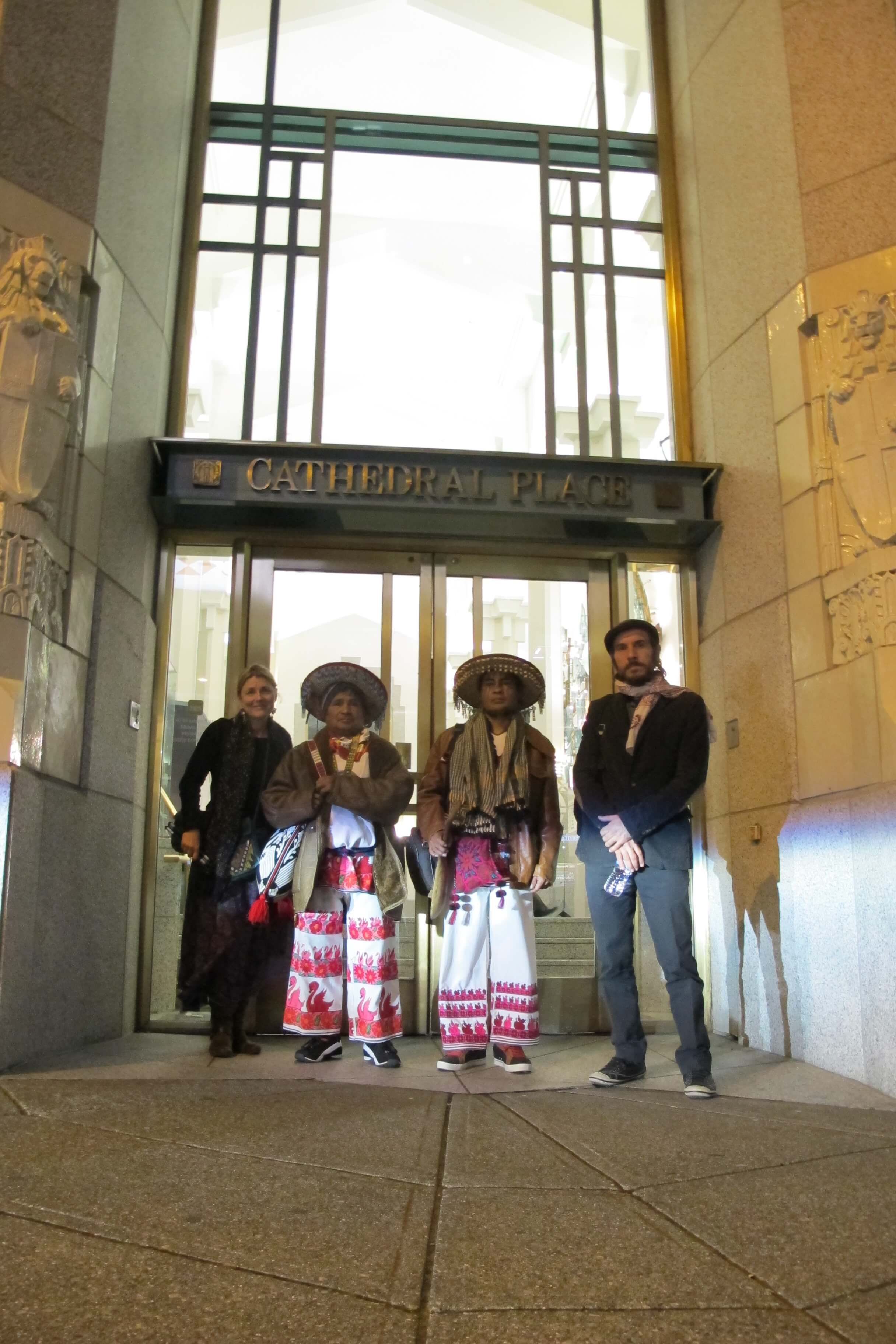 Huicholes North American Film Tour  makes a stop at First Majestic Silver Corp. headquarters to deliver a letter from the Wixarika authorities and a copy of the DVD.