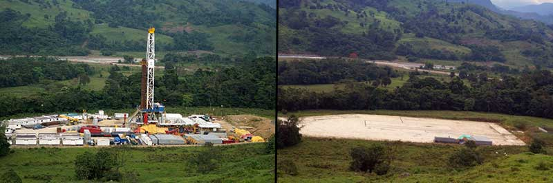 The Magallanes project on August 29th, 2014 before it was dismantled and after on February 20th, 2015