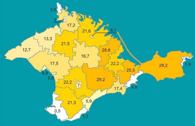 Crimean Tatar population density, according to the 2001 Ukrainian census