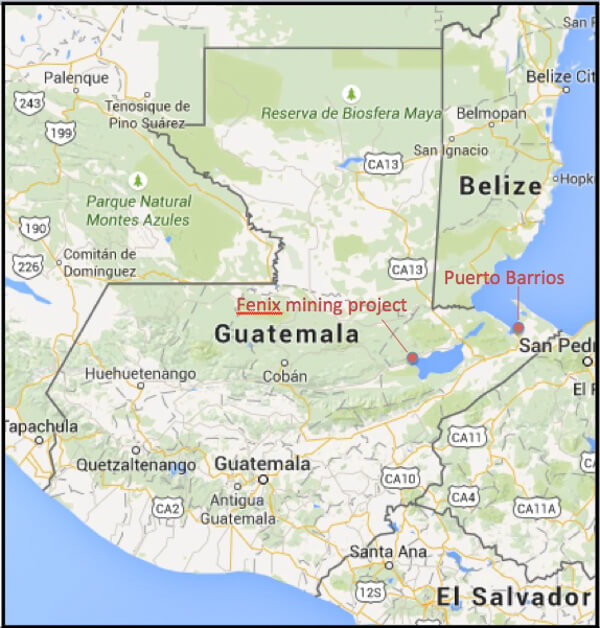 Google map showing the location of the Fenix mining project and Puerto Barrios, where a trial of the head of the mine's security force is taking place.