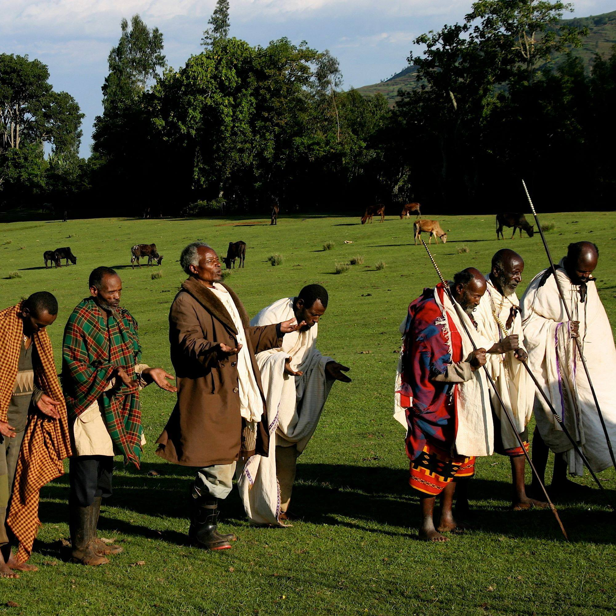 Gamo elders pray on their sacred Dorbo Meadow in Gamo Highlands in Ethiopia. (Photo: Toby McLeod)
