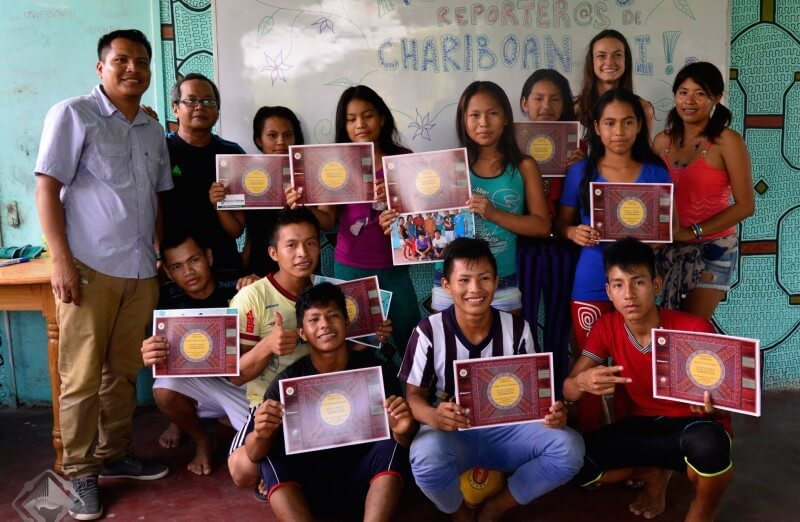 Chariboan Joi youth with certificates following the citizen journalism training. Photo provided by the project.