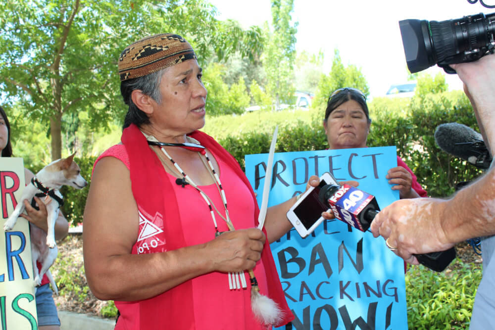 Caleen Sisk, Chief and Spiritual Leader of the Winnemem Wintu Tribe, is interviewed by FOX 40 TV News. Photo by Dan Bacher.