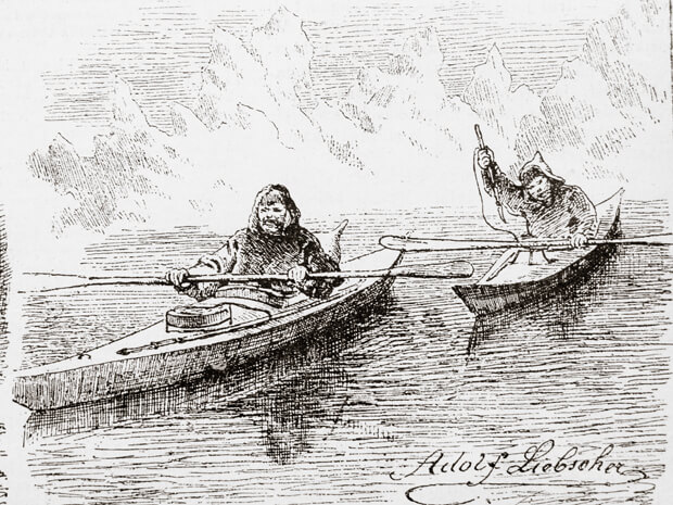 Abraham and Tobias in their kayaks - illustration published in Prague's Svetozor weekly newspaper, 1880.