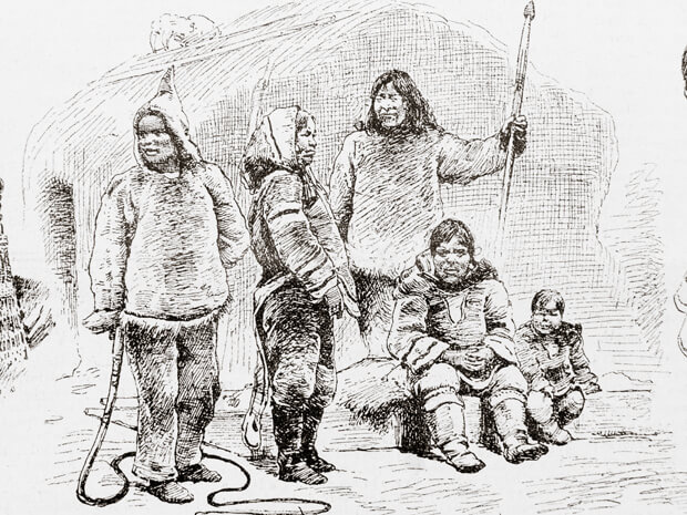 , Eight Labrador Inuit trapped in a 19th century human zoo