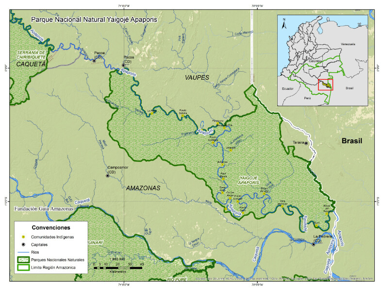 Map of Yaigojé-Apaporis Resguardo / National Park (Fundacion Gaia Amazonas, 2014)