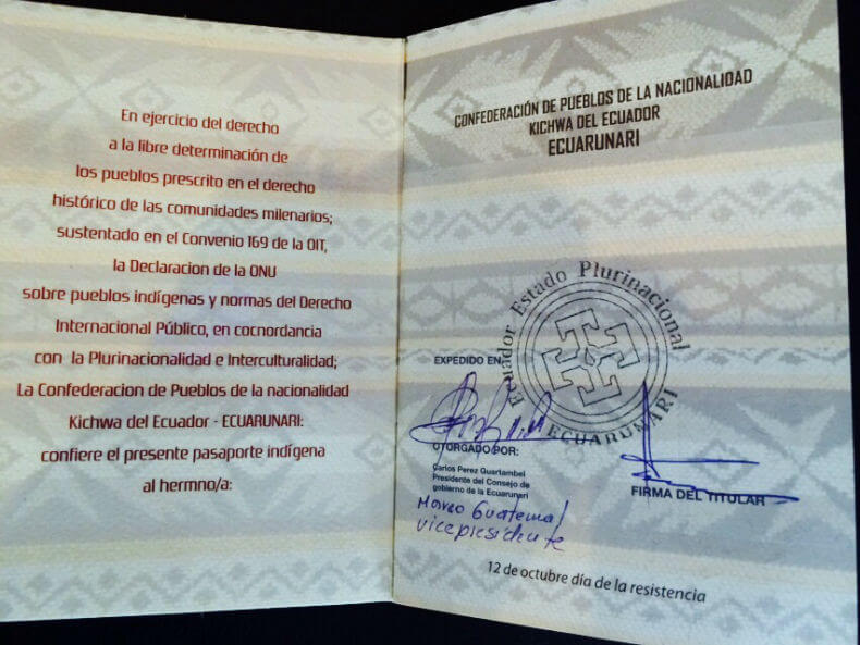 Inside the Kichwa Passport (Photo © Manuela Picq)