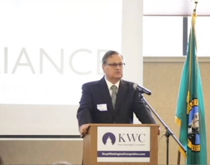 "Brad Owens speaking at the June 22, 2015 NWJA-sponsored event, ""Rebuilding the Middle Class: Working Families and Wages in Northwest Washington and the State,"" in Bellingham, WA."