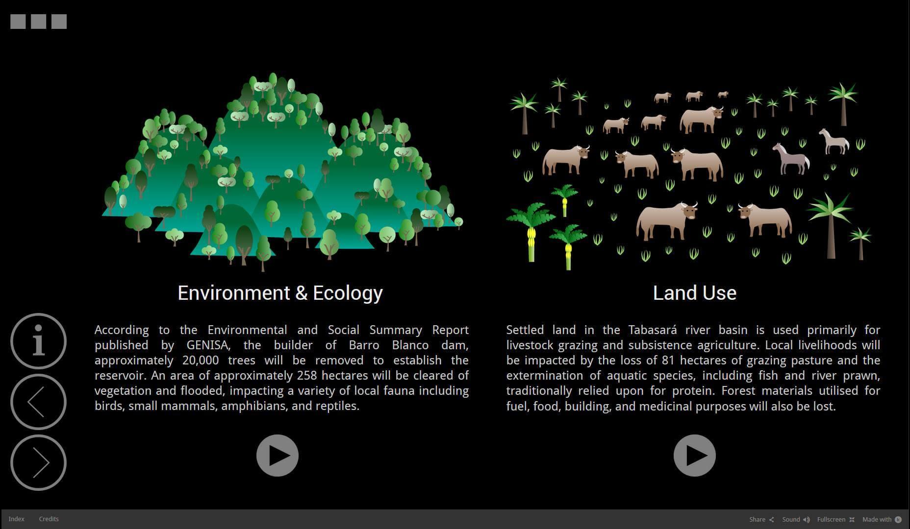 Screenshot from an experimental webdoc by Richard Arghiris