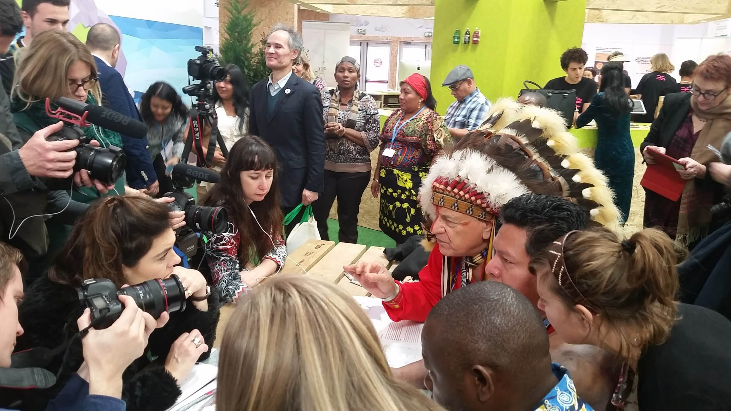 Indigenous leaders present research on land rights at a Green Zone press conference