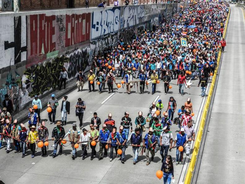 Indigenous activists rally in Bogota. Minga Juvenil Nacional