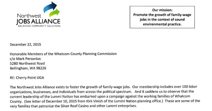 Excerpt from NWJA's December 22 comment letter to the Whatcom County Planning Commission