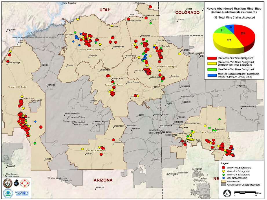 Navajo abandoned uranium mines gamma radiation measurements and priority mines. US EPA