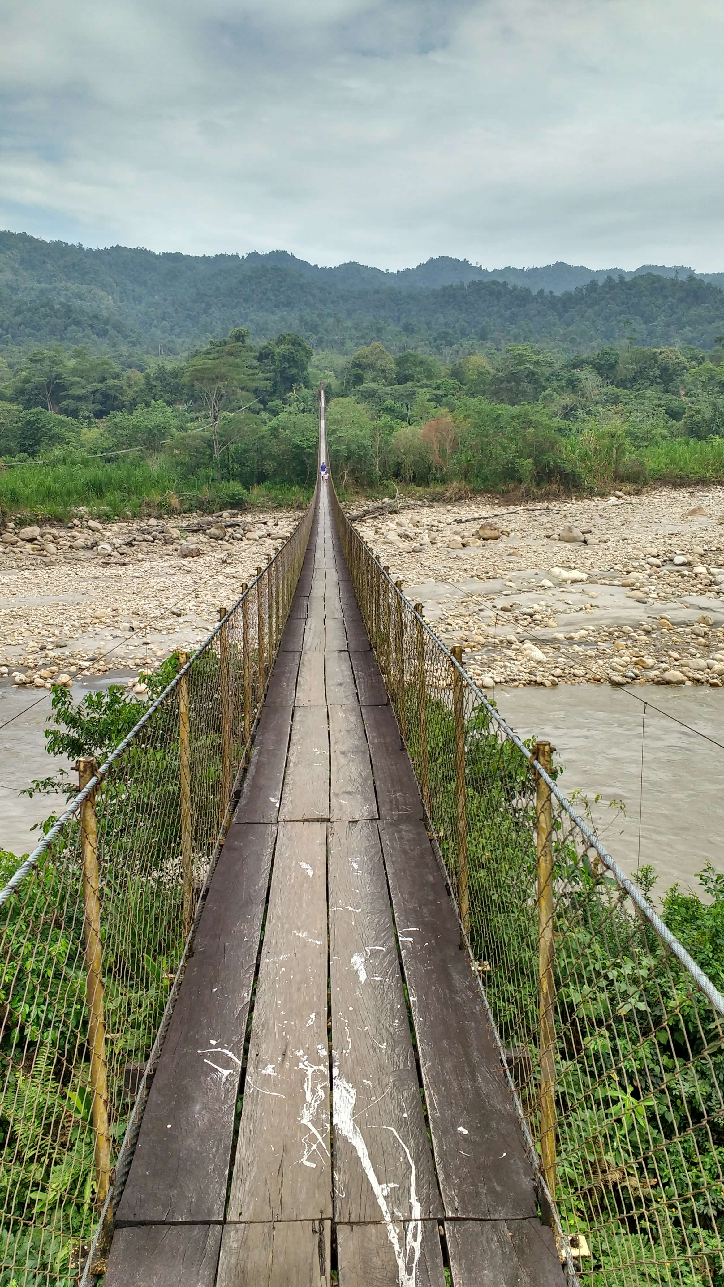 The 450 meter bridge that crosses the Cobaria River is what separates Berito's house on the eastern border of the resguardo and the Catholic mission that once held him against his will. Photo: Jake Ling