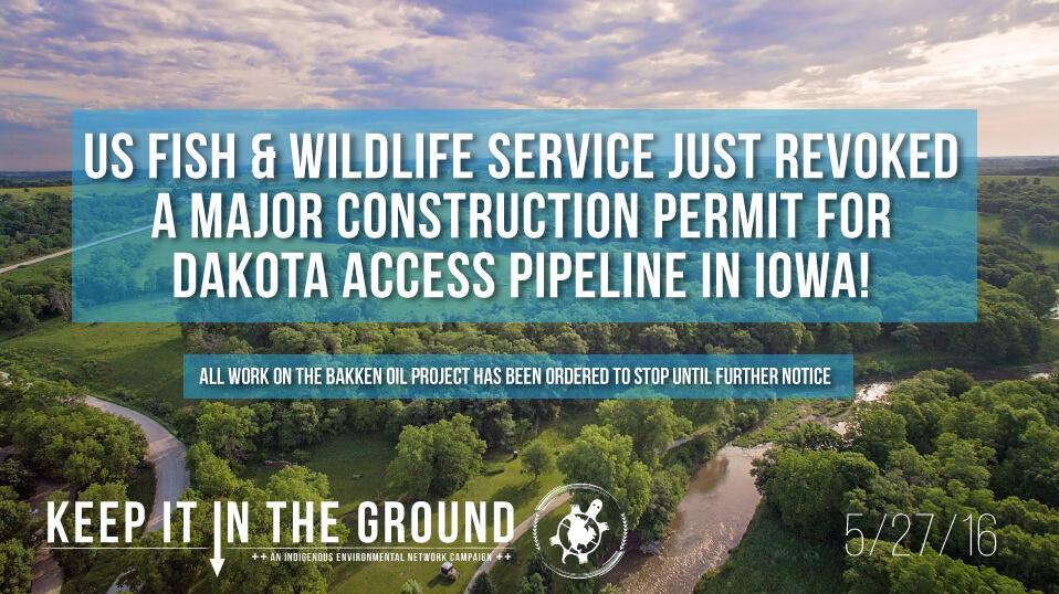 , U.S. Fish and Wildlife Service Revokes Sovereign Lands Construction Permit for Dakota Access Pipeline in Iowa