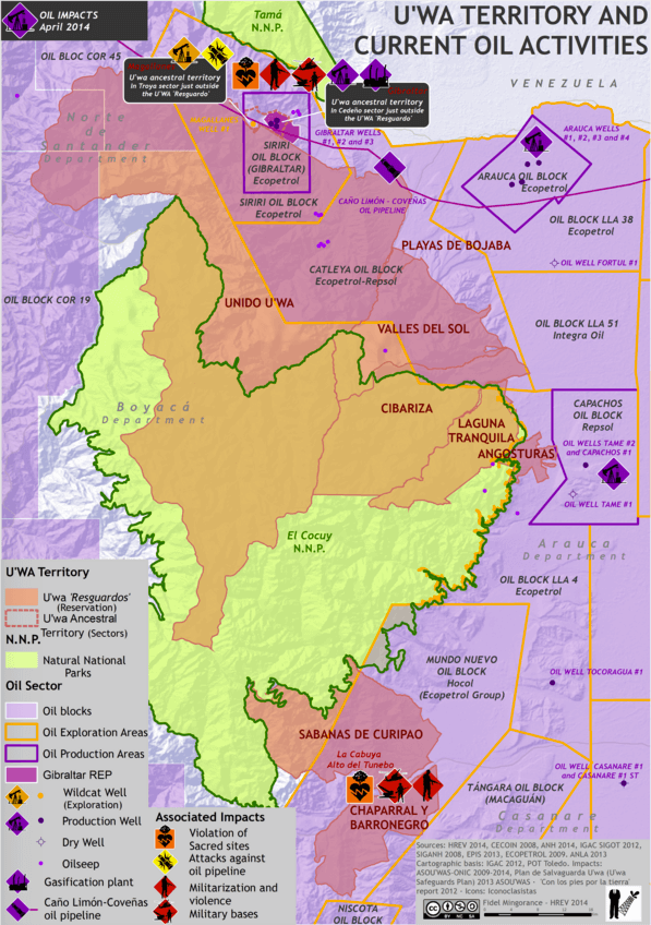 Oil blocks on U'wa territory. Map by Fidel Mingorance / HREV 2014