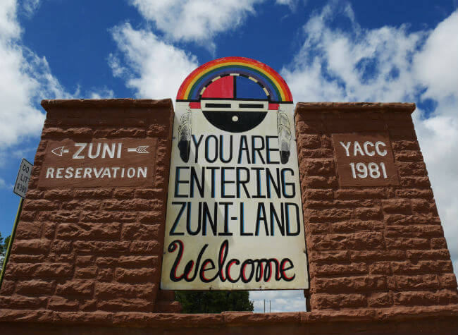 Zuni Reservation welcome sign.