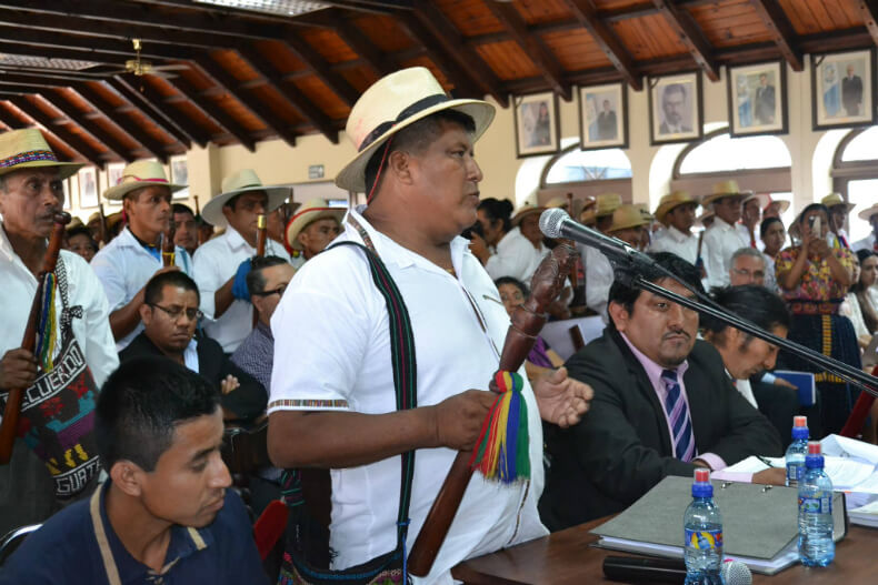 Victoriano Chocooj, from the Great Council of Ancestors, represented nearly ten thousand people. When he spoke, all the Q'eqchi' Authorities stood up in respect and support.