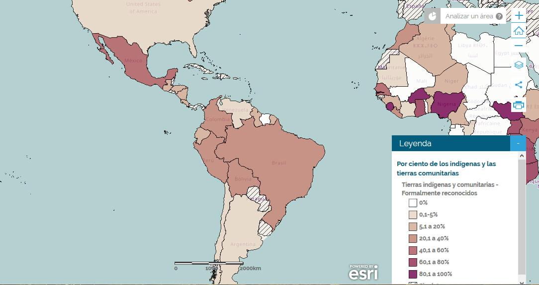Mapa LandMark: Porcentaje nacional de tierras indígenas y comunitarias reconocidas formalmente