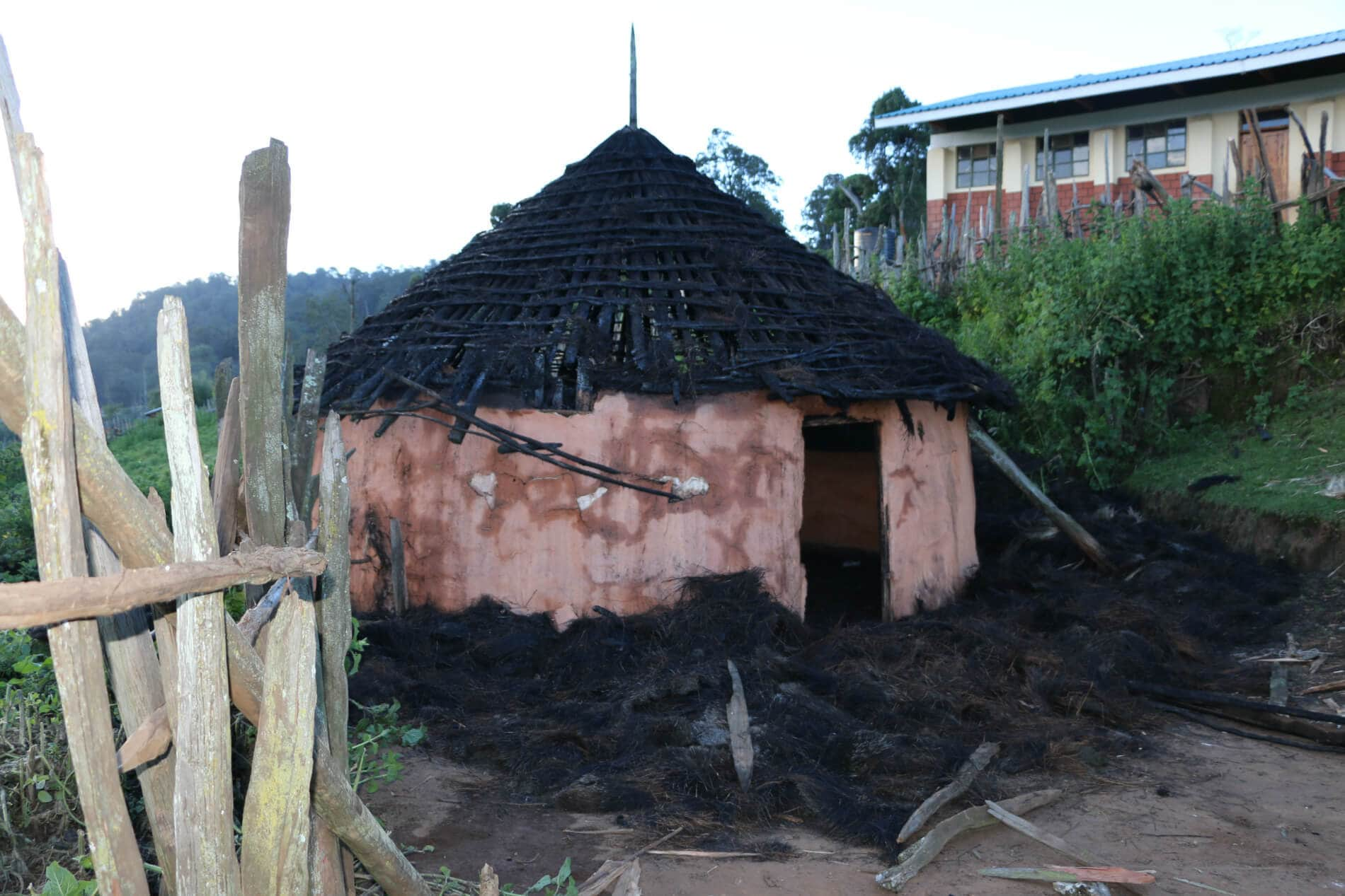 A house belonging to a sengwer woman on the edge of embobut forest that was allegedly burned by kenya forest service guards a school behind the house was