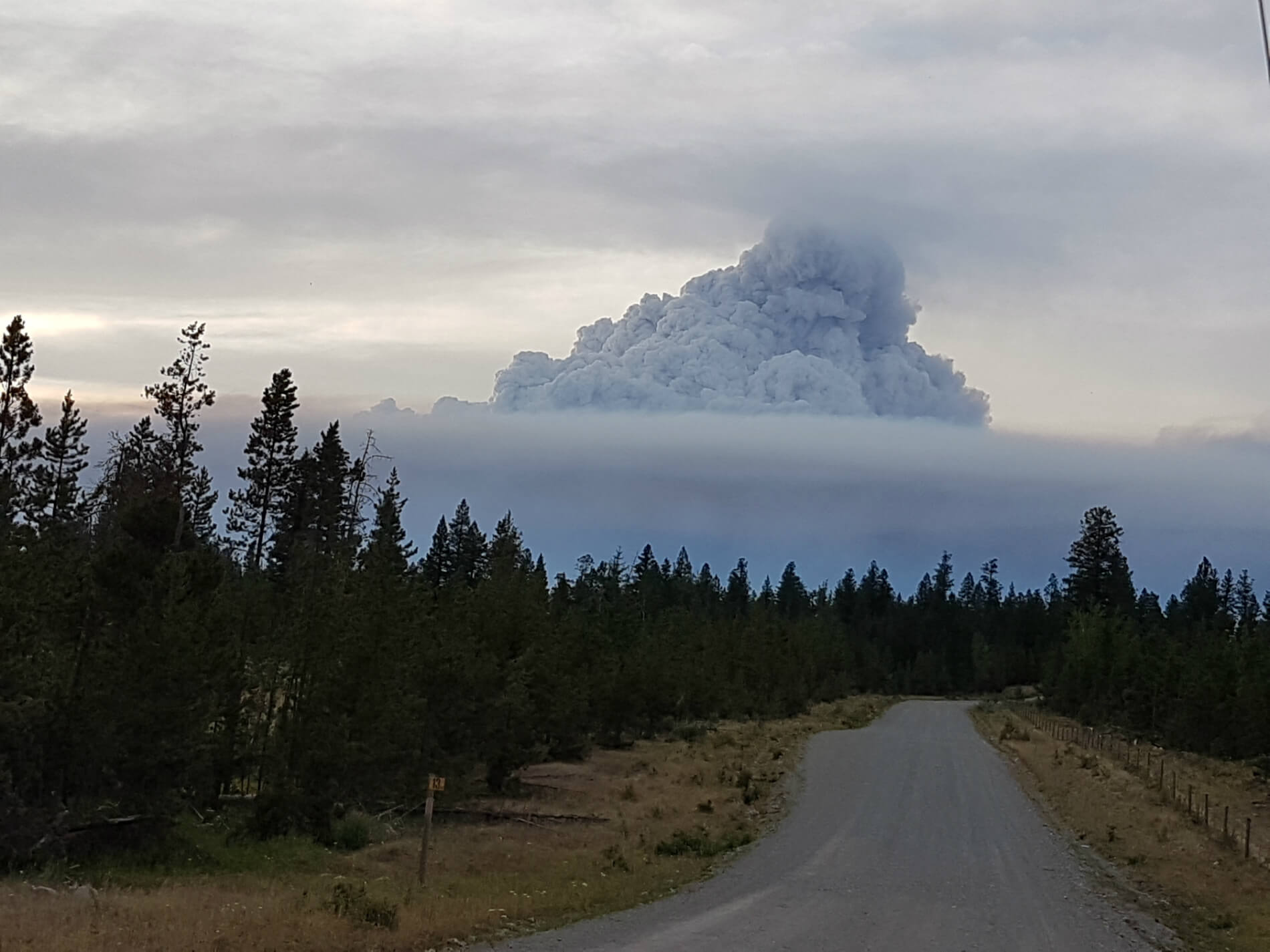 Smoke plumes from wildfires rise above the Tsilhqot'in territory