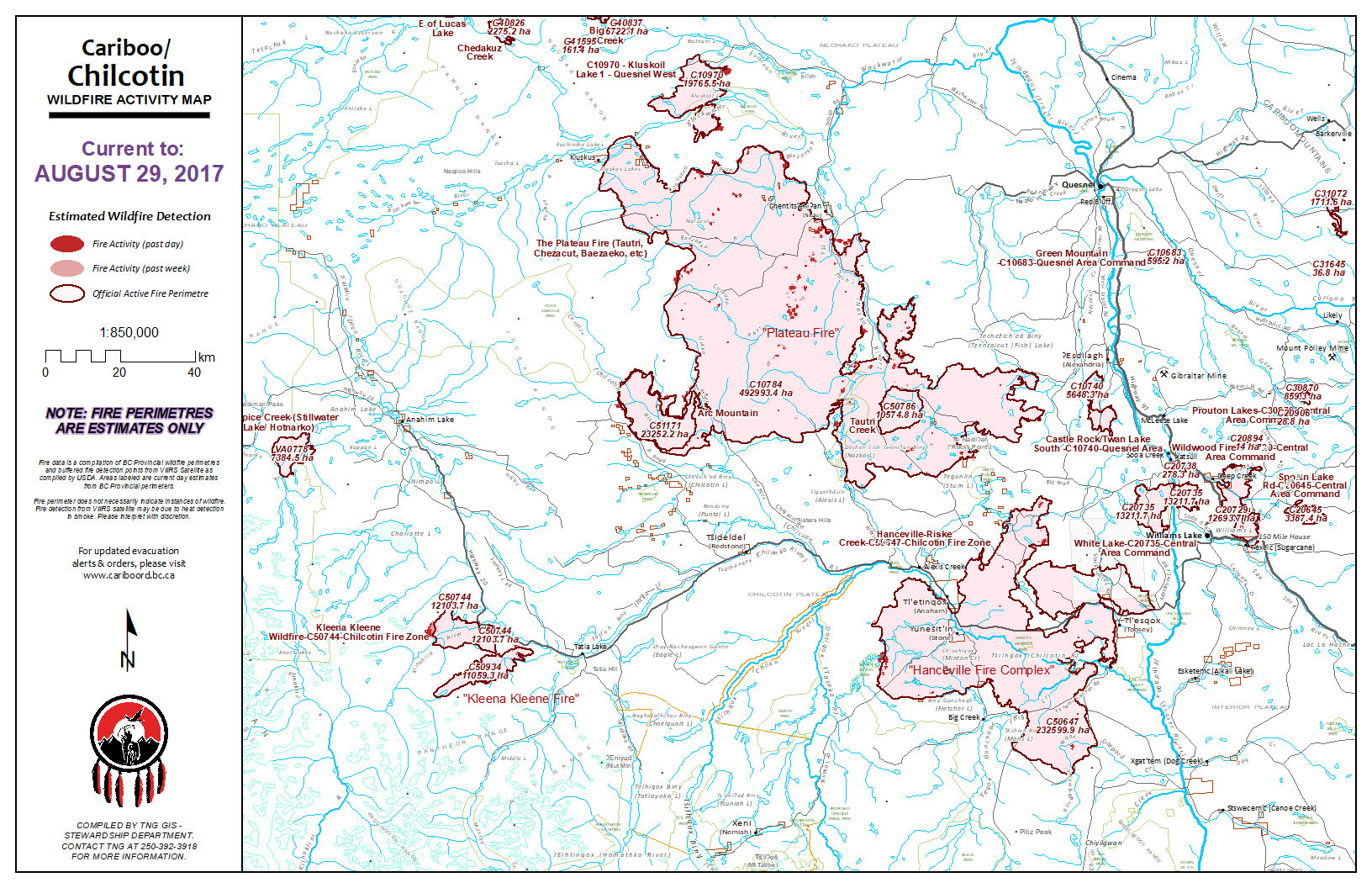 Wildfire map for the Tsilhqot'in territory