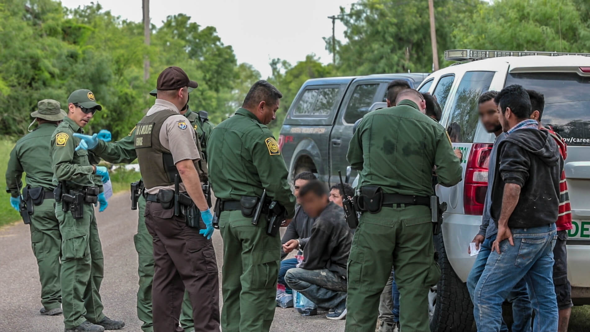 Border Patrol detainment in the Rio Grande Valley, San Juan TX.