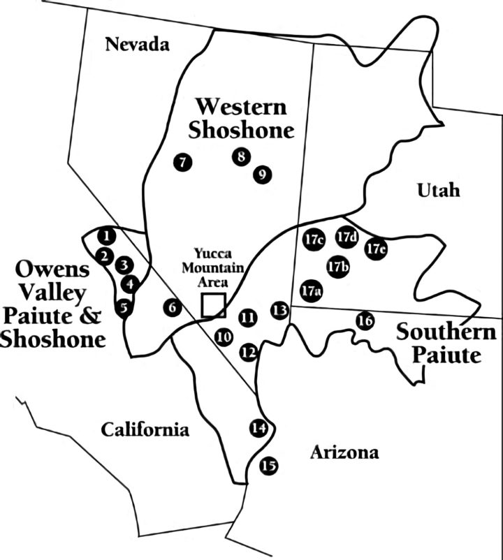 A map showing all federally-recognized Tribes located near the Yucca Mountain Site. Source: US Department of Energy