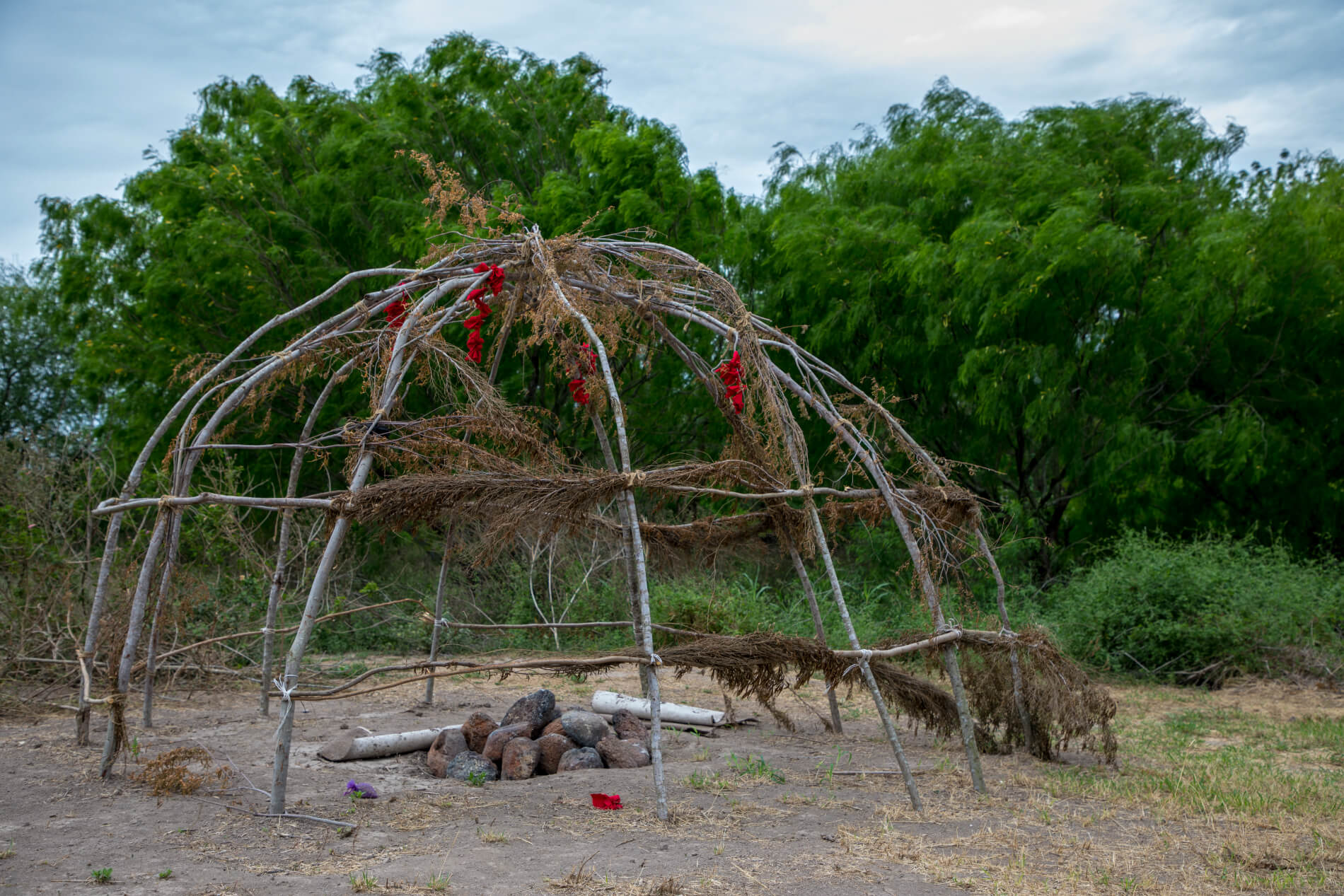 Completed sweat lodge at the Esto'k Gna's Mariposa Village