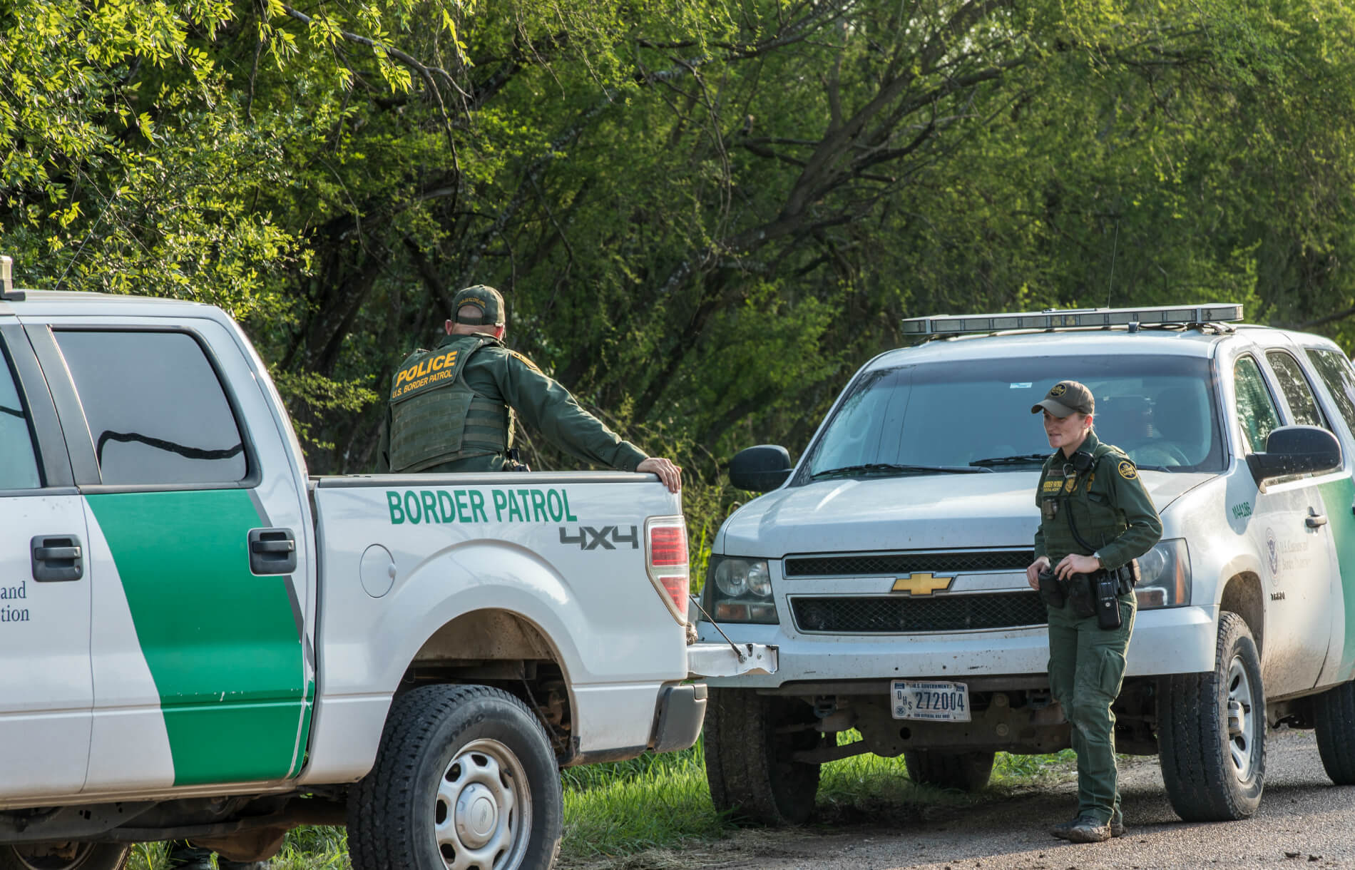 Border Patrol officers on the U.S.-Mexico Border in San Juan, TX.