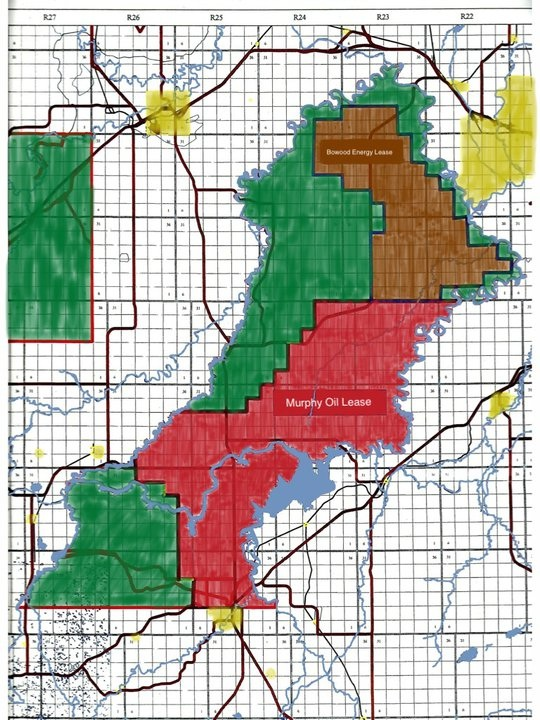 Murphy Oil (red) and Bowood Energy (brown) concessions on the Blood Reserve