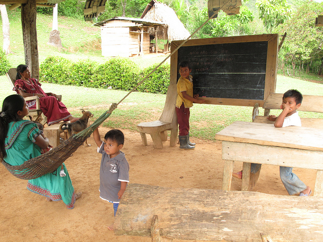 The ancient Ngabere language is taught at this school house in Quebrada Kia.